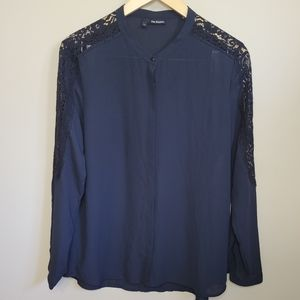 The Kooples Black Crepe and Lace Shirt Siz…